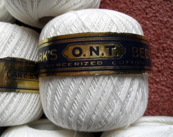 Clark Crochet Tatting Vintage Thread O.N.T. NIP White 24 balls