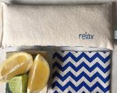 Organic Eye Pillow - Wheat and Flaxseed - Citrus - Blue Chevron