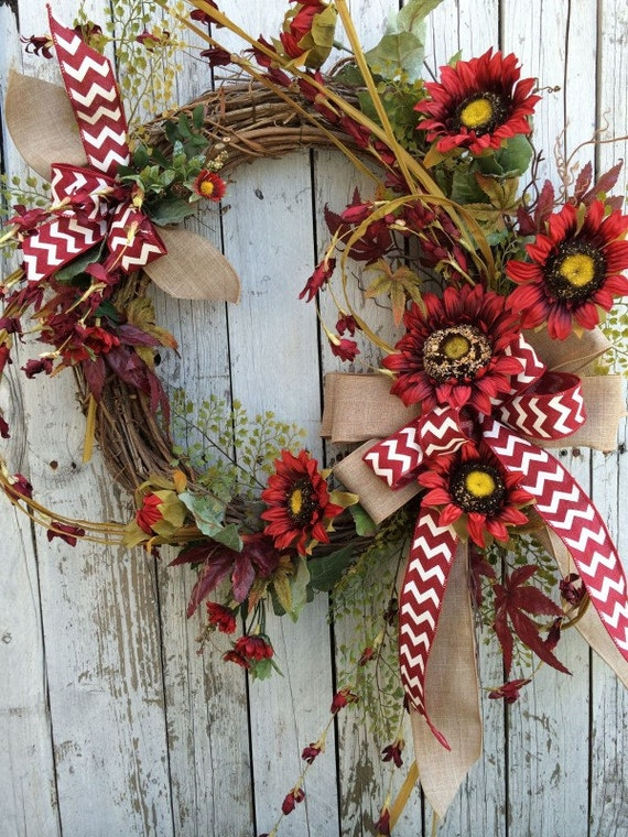 Fall Red Sunflower Wreath, Sunflower Wreath for Door, Fall Door Decor, Fall Wreath for Door