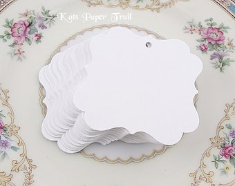 """Fancy White Square Tags - Wedding Favor Tags - Paper Tags - Gift Tags - size 2"""" x 2"""" Set of 50"""