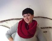 Deep rose red loose crochet infinity scarf