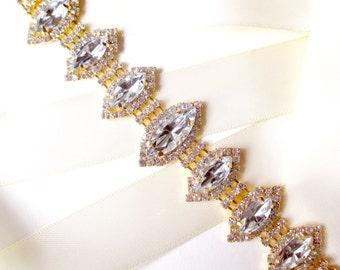 SALE! Marquise Rhinestone Bridal Belt Sash in Gold - White Ivory Silver Satin Ribbon - Rhinestone Crystal - Wedding Dress Belt