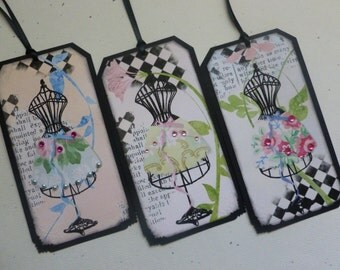 French fashion Tags or bookmarks Dress forms french flair tags feminine any occasion tags vintage style - set of 6