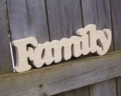 Wood Family Sign Shelf Sign Word Art Unfinished