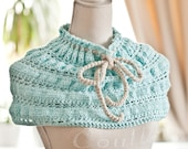 Instant download - Crochet PATTERN (pdf file) - Mint Cowl with a Bow