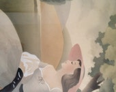 Sale**PR of BERNARD Southern Belles,Moss Green Grey Framed Pictures,Ladies on Park Bench,Boudoir Decor,Cottage Decor,1940s Wall Decor,