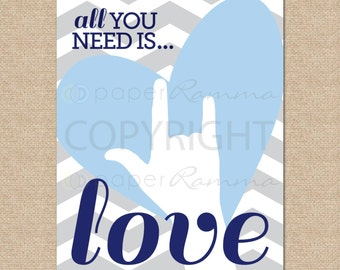 All You Need Is Love, Beatles Art // Rock and Roll Nursery / Kids Room Giclée Art Print // Classic Rock Art // Music Nursery //N-X63-1PS AA1