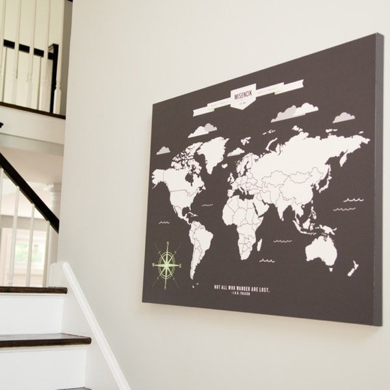 World map art interactive family map mark the places like this item gumiabroncs Image collections