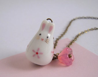 Ceramic Rabbit Pink Flower Necklace Antiqued Brass Chain Cute Glass Jewelry
