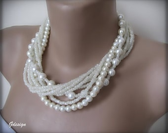Wedding ivory glass pearl necklace,   Bold Bridal seed bead necklace , Handmade, chunky layered necklace