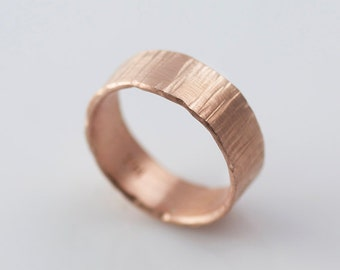Bark Hammered Rose Gold Wedding Bands Recycled Hand Forged 14k Eco Friendly Metal