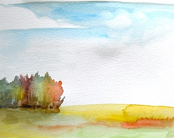 "Watercolor Painting, Original Landscape, Meadow with Big Clouds, 9""x12"""
