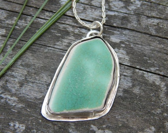 Beach Find Light Green Pottery Shard Set in Sterling Silver Necklace