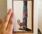 Framed Miniature Painting, Animal Art, Acrylic on Canvas Board