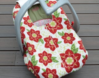 Red Floral Carseat Cover for Winter Baby, Fleece with Zipper, by sophiemarie