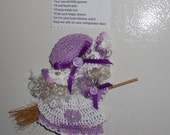 Lilac Purple and White Crocheted Kitchen Witch Broom Doll Fridgie Magnet