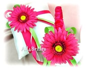Hot pink and green gerber daisy ring pillow and flower girl basket, wedding ring cushion and basket set