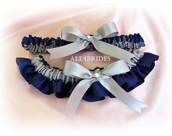 Wedding bridal garter set, Navy Blue and Gray.  Bridal Leg Garter Belt Set