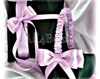 Black and Lavender weddings ring bearer pillow and flower girl basket
