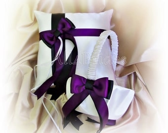 Wedding ring pillow and flower girl basket in deep purple and black wedding colors.  Satin wedding ring cushion and basket set.