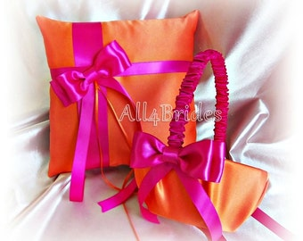 Orange and Hot Pink Wedding Ring Pillow and Flower Girl Basket - Weddings Ceremony Decor Ring Cushion and Basket Set