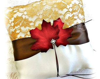 Fall Leaves Wedding Ring Pillow -  Gold Lace, Chocolate Brown and Burnt Orange Maple Leaves