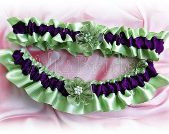 Bridal Garter Set Sage Green And Purple - Wedding Garter Set - Satin Garters