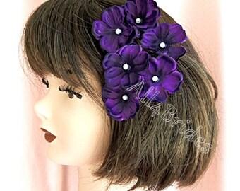 Deep purple hair pins - hydrangea hair pins - purple lapis hair flowers - bridesmaids hair accessories