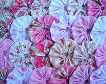 Wedding Fabric Flower YoYo 40 Shabby MARY ROSE Chic 2 Inch Trim Hair Clip Bow Barrette Applique