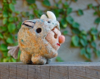 Needle Felted Wool Animal Rider in Armor Made to Order