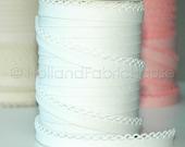 Double fold picot crochet edge bias tape, crochet bias tape, lace bias tape, white bias tape, solid white bias tape, white bias binding