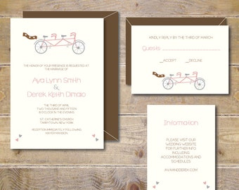 Bike Wedding Invitations . Bicycle Wedding Invitations . Bike Wedding . Tandem Bicycle Invitations - A Bike for Two