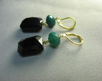 green black glass earrings ... funky opaque glass