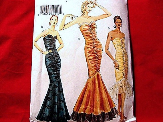Vogue Gown Mermaid Dress Pattern Misses size 8 10 12 UNCUT