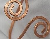 Reservation set of two :Copper Textured Bangle. Copper Double Spiral  Bangle. Adjustable Bracelet.