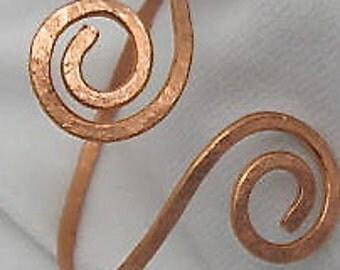 Copper or Steel Textured Bangle. Copper Double Spiral  Bangle. Adjustable Bracelet. ONSALE