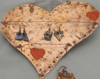 Copper Heart Display,  Jewelry Hanger Display. Wall Art Display.