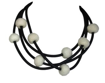 Long statement necklace in cream and black,  rubber jewelry, women's accessory