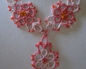 Hand Tatted Pink Tri Necklace with beading