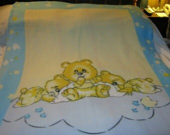 Nice Heavier Fleece Teddy Bears Baby/Toddler Blanket-NEWLY MADE 2016