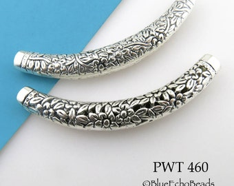 Large Curved Pewter Tube Bead Flower Engraved Tube Bead 67mm (PWT 460) 1 pc BlueEchoBeads