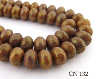 Earthy Rust Brown Adobe Czech Glass Faceted Rondelle Beads 9mm (CN 132) 12pcs BlueEchoBeads