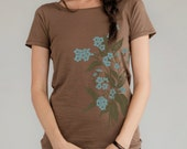 Forget Me Nots Flower print. Organic Women's t-shirt, Scoop Neck, Mushroom brown, Sky blue, Gift, Limited Edition