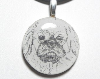 Pug necklace, dog lover, gift for pug owner, Wearable pug, fun dog jewelry, dog necklace, black and white, casual, little dog pendant, N230