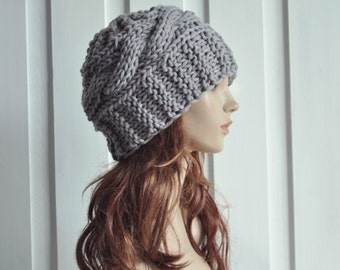 Hand Knit Hat Womens Hat Cable Beret Hat in Grey Chunky Knit hat-ready to ship