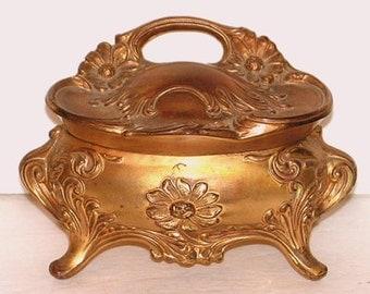 Vintage Jewel Casket  - Art Nouveau - Daisies - Trinket Jewelry Box - Gold Ormolu Metal - B & W 158 Victorian