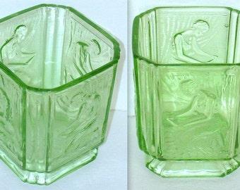 Art Deco Glass - SowerbyUranium Green Glass - Pandora Box - Biscuit Barrel Base -  Vase