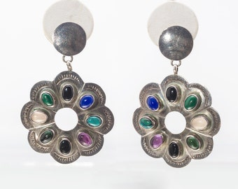Multi Gemstone Navajo Earrings - 70s Posts - Best Buy