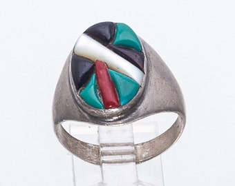 Zuni Cobblestone Inlay Ring - Sterling Turquoise Coral - Terrazas - Men's Ring sz. 12 - Best Buy