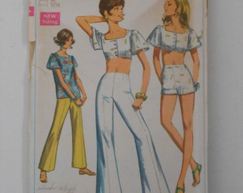 Vintage 60s Bell Bottom Pants Crop Top Shorts Pattern Simplicity 8113 Size 10 Bust 32 1/2